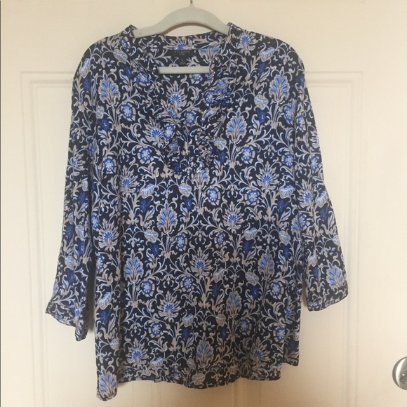 Talbots Tops - Black blue patterned three quarter blouse